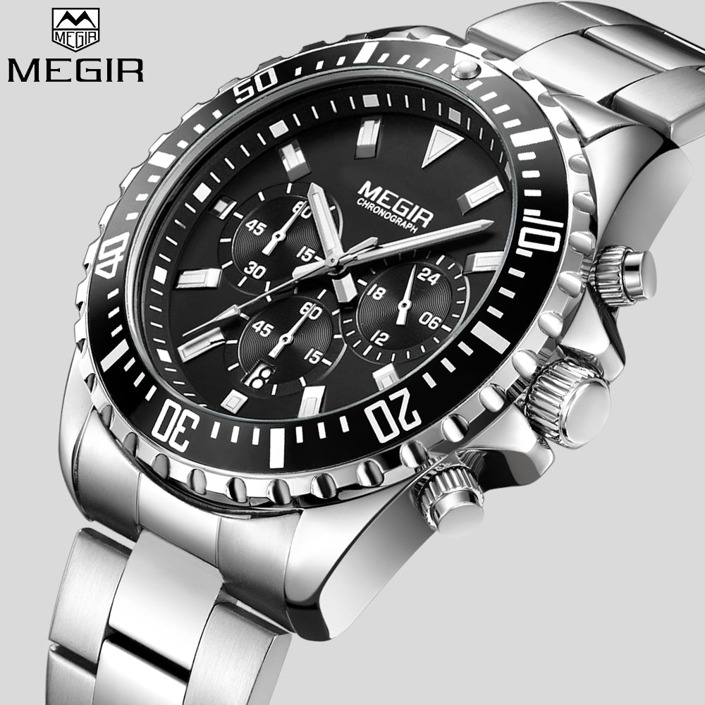 MEGIR Top Luxury Full Stainless Steel Band Wristwatch