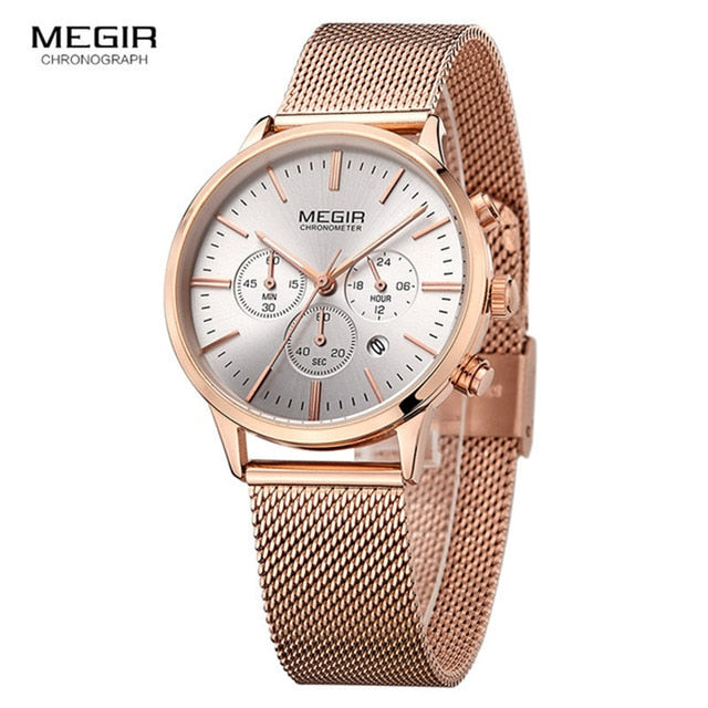 MEGIR Top Quartz Ladies Stainless steel Band Wrist Watch