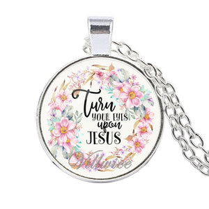 Bible Verses Necklace Glass Dome Pendant