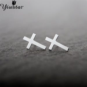 Yiustar Cross Earrings for Women Girls Simple Tiny Brass Cross Stud Earrings for Femme Religious Christian Jewelry Wholesale