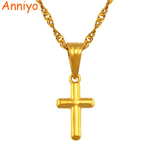 Small cross pendant necklace women girl,mini charm pendant gold