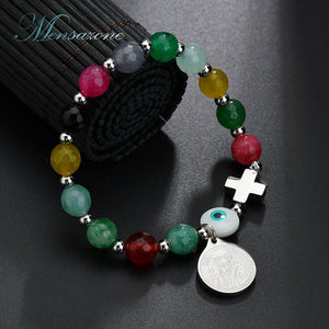 Eye Cross Bracelet Colorful Natural Stone