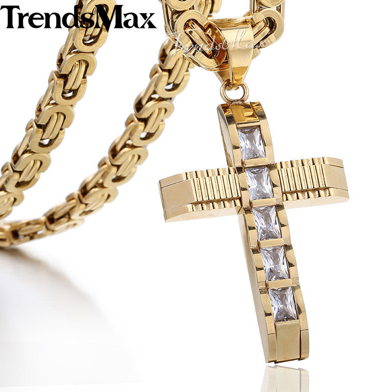 Male Cross Necklace for Men Gold Silver Black Stainless Steel