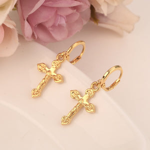 2pairs small cross drop earring lovely Jesus Christian Gold Dubai african Arab Middle Eastern Jewelry for women Mom kids Gifts