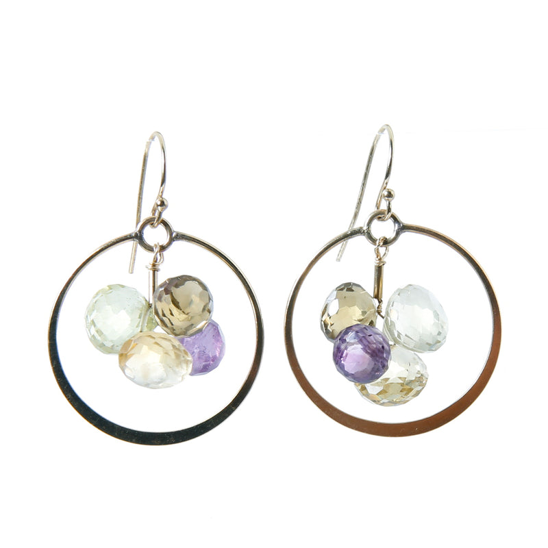 Earring with stones and flattened circle