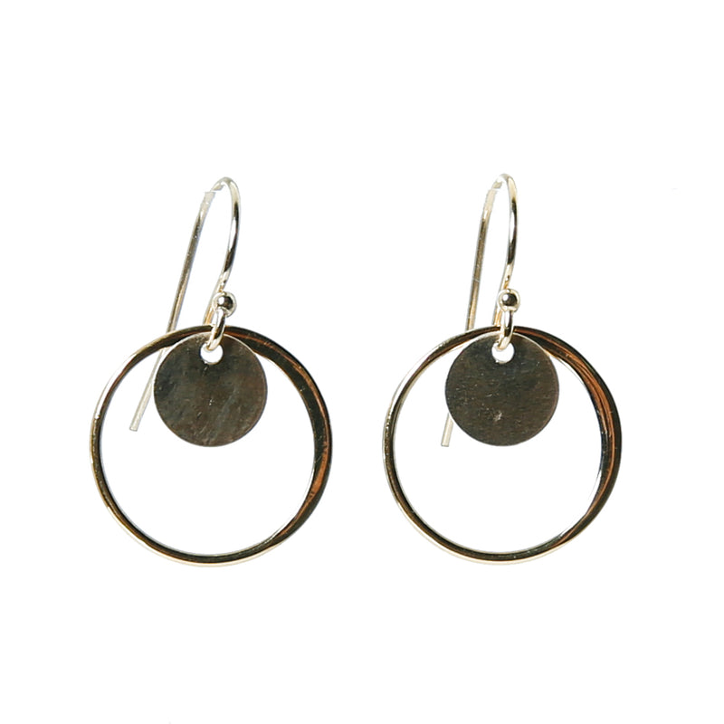 Earring with round component and coin