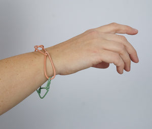 Modular Bracelet in Dusty Rose and Pale Green - medium