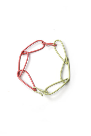 Modular Bracelet in Green Sand and Light Raspberry - large/extra large