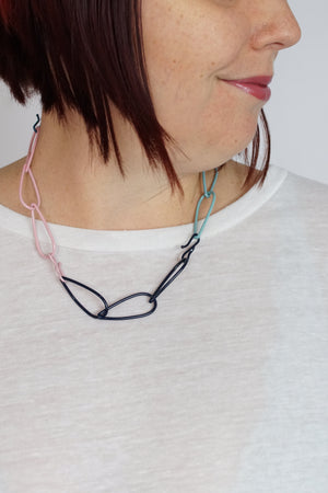 Modular Necklace in Dark Navy, Azure Blue, Faded Teal, and Bubble Gum