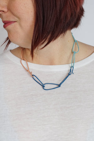Modular Necklace in Dark Navy, Azure Blue, Faded Teal, and Dusty Rose