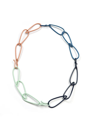 Modular Necklace in Dark Navy, Azure Blue, Soft Mint, and Dusty Rose