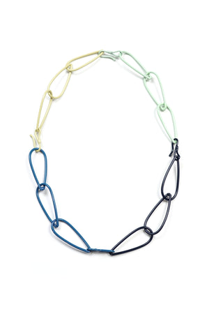 Modular Necklace in Dark Navy, Azure Blue, Soft Mint, and Green Sand