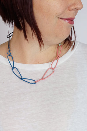 Modular Necklace in Dark Navy, Azure Blue, Soft Mint, and Light Raspberry