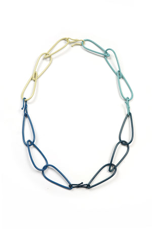 Modular Necklace in Deep Ocean, Azure Blue, Faded Teal, and Green Sand