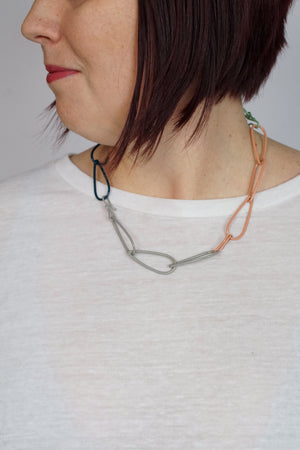 Modular Necklace in Deep Ocean, Stone Grey, Pale Green, and Dusty Rose