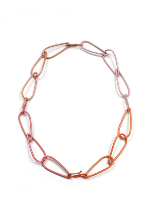 Modular Necklace in Dusty Rose, Desert Coral, Light Raspberry, and Bubble Gum
