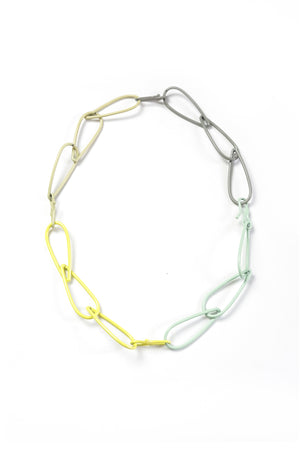 Modular Necklace in Bright Yellow, Green Sand, Soft Mint, and Stone Grey