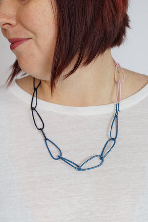 Modular Necklace in Azure Blue, Dark Navy, and Bubble Gum