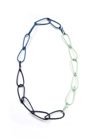 Modular Necklace in Azure Blue, Dark Navy, and Soft Mint