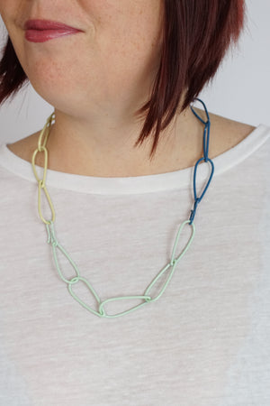 Modular Necklace in Azure Blue, Soft Mint, and Green Sand