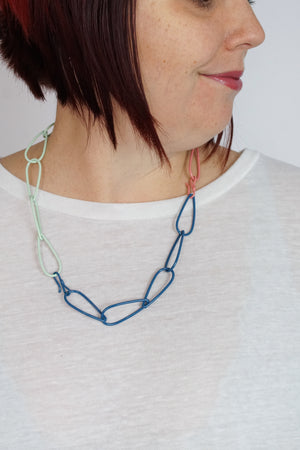 Modular Necklace in Azure Blue, Light Raspberry, and Soft Mint