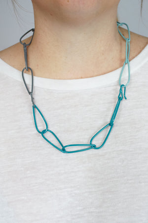 Modular Necklace in Bold Teal, Storm Grey, and Faded Teal