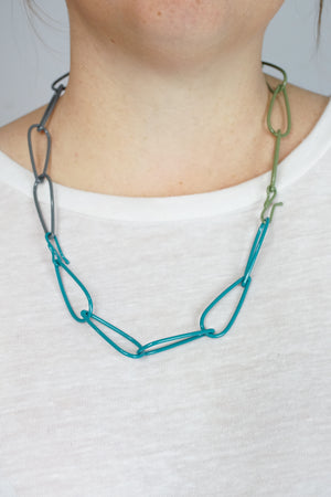 Modular Necklace in Bold Teal, Storm Grey, and Olive Green