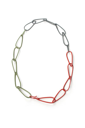 Modular Necklace in Coral Red, Storm Grey, and Olive Green