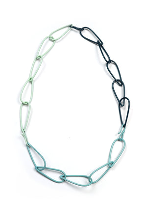 Modular Necklace in Dark Navy, Faded Teal, and Soft Mint