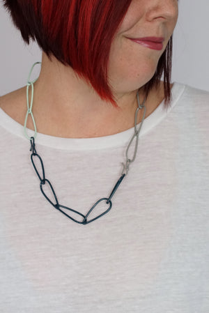 Modular Necklace in Deep Ocean, Soft Mint, and Stone Grey