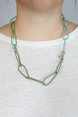 Modular Necklace in Faded Teal, Fresh Green, and Olive Green