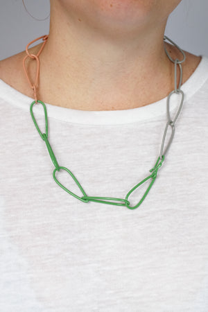 Modular Necklace in Fresh Green, Dusty Rose, and Stone Grey