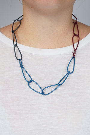 Modular Necklace in Lush Burgundy, Azure Blue, and Midnight Grey