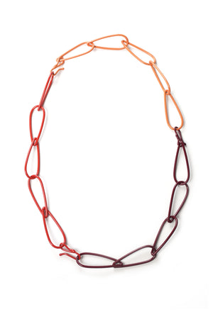Modular Necklace in Lush Burgundy, Coral Red, and Desert Coral