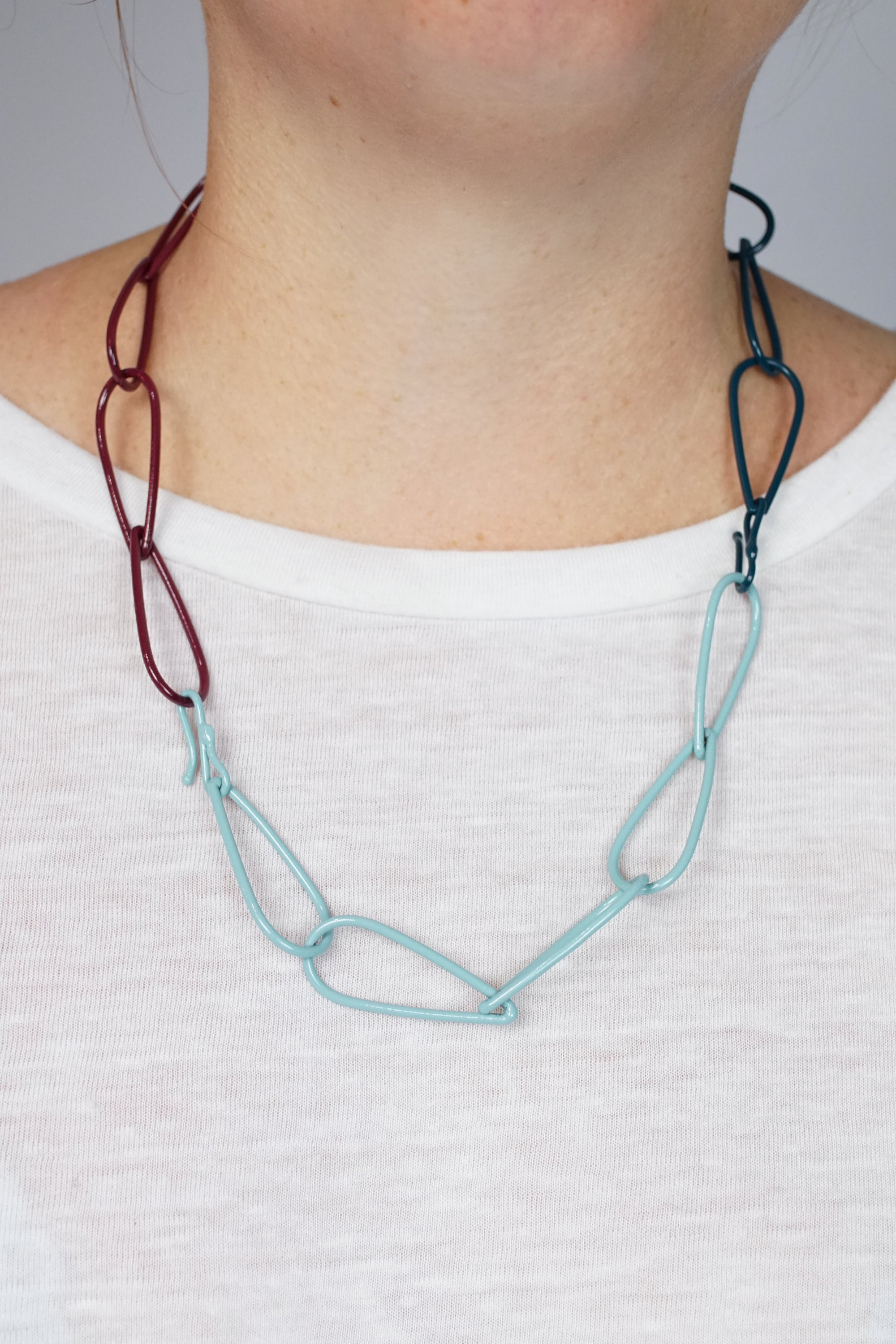 Modular Necklace in Lush Burgundy, Faded Teal, and Deep Ocean