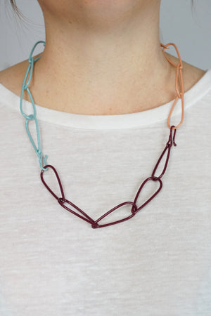 Modular Necklace in Lush Burgundy, Faded Teal, and Dusty Rose