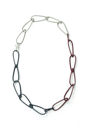 Modular Necklace in Lush Burgundy, Midnight Grey, and Stone Grey