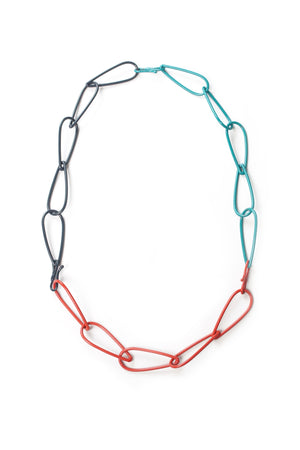 Modular Necklace in Midnight Grey, Coral Red, and Bold Teal