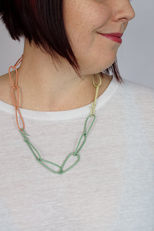 Modular Necklace in Pale Green, Dusty Rose, and Green Sand