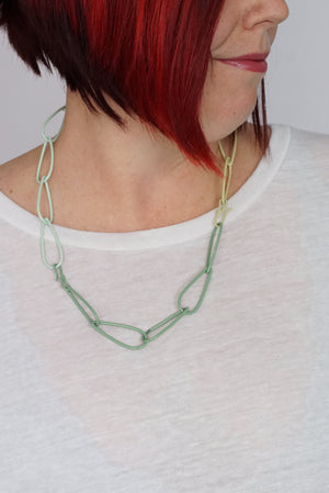 Modular Necklace in Pale Green, Soft Mint, and Green Sand