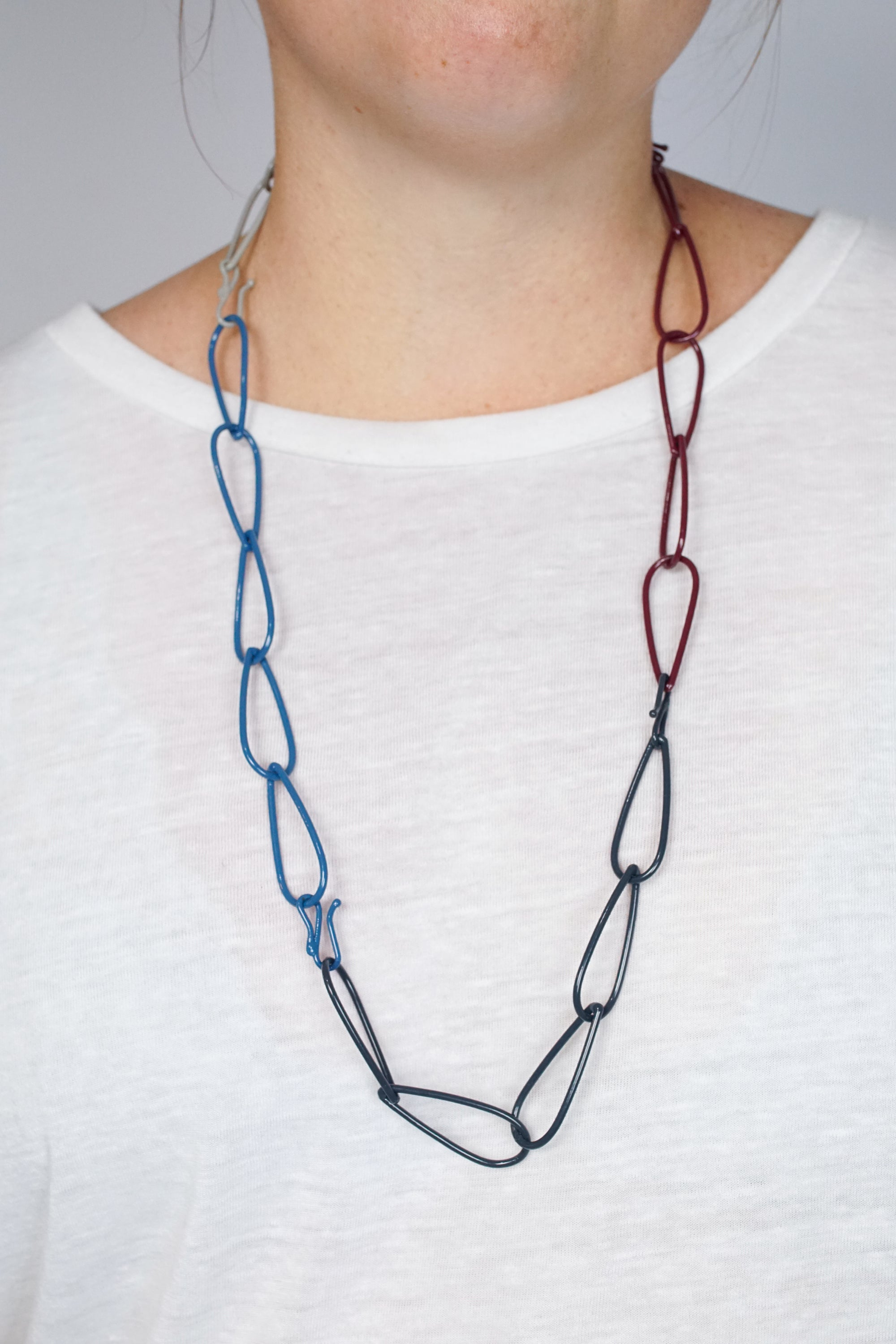 Long Modular Necklace in Azure Blue, Midnight Grey, Lush Burgundy, and Stone Grey
