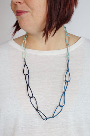 Long Modular Necklace in Azure Blue, Soft Mint, Dark Navy, and Faded Teal
