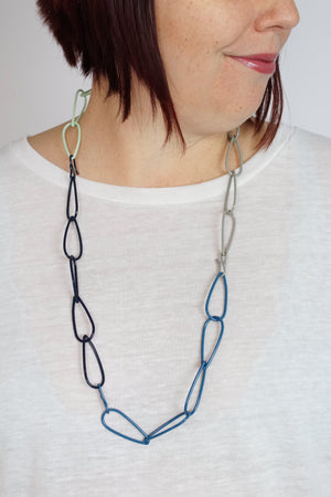 Long Modular Necklace in Azure Blue, Soft Mint, Dark Navy, and Stone Grey