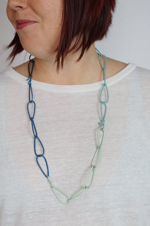 Long Modular Necklace in Deep Ocean, Azure Blue, Soft Mint, Faded Teal