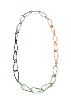 Long Modular Necklace in Deep Ocean, Stone Grey, Pale Green, and Dusty Rose