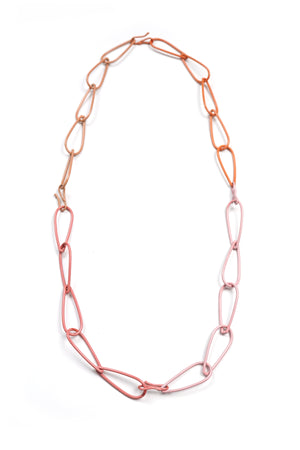 Long Modular Necklace in Dusty Rose, Desert Coral, Light Raspberry, and Bubble Gum