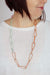 Long Modular Necklace in Dusty Rose, Desert Coral, Light Raspberry, and Pale Mint