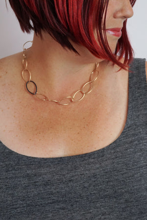 Audrey necklace - bronze with steel accent