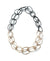 steel and bronze modern chain link two-tone long necklace