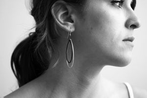 Eva earrings in Faded Teal and Midnight Grey